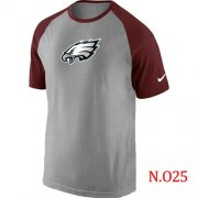Wholesale Cheap Nike Philadelphia Eagles Ash Tri Big Play Raglan NFL T-Shirt Grey/Red