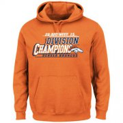 Wholesale Cheap Men's Denver Broncos Majestic Orange 2015 AFC West Division Champions Pullover Hoodie