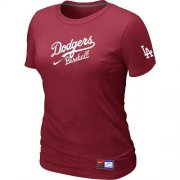 Wholesale Cheap Women's Los Angeles Dodgers Nike Short Sleeve Practice MLB T-Shirt Red