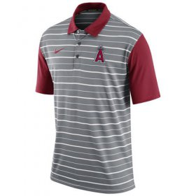 Wholesale Cheap Men\'s Los Angeles Angels of Anaheim Nike Gray Dri-FIT Stripe Polo