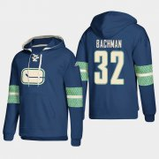 Wholesale Cheap Vancouver Canucks #32 Richard Bachman Blue adidas Lace-Up Pullover Hoodie