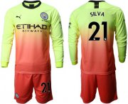 Wholesale Cheap Manchester City #21 Silva Third Long Sleeves Soccer Club Jersey