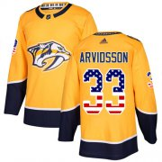Wholesale Cheap Adidas Predators #33 Viktor Arvidsson Yellow Home Authentic USA Flag Stitched NHL Jersey