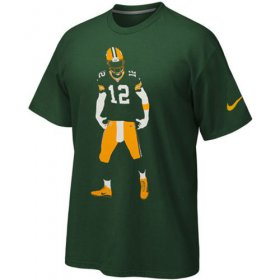 Wholesale Cheap Green Bay Packers Aaron Rodgers Nike Silhouette T-Shirt Green