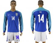Wholesale Cheap Brazil #14 Gil Away Long Sleeves Soccer Country Jersey