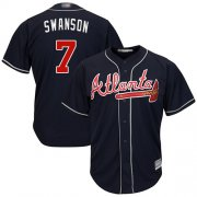 Wholesale Cheap Braves #7 Dansby Swanson Navy Blue New Cool Base Stitched MLB Jersey