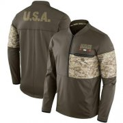 Wholesale Cheap Men's Cleveland Browns Nike Olive Salute to Service Sideline Hybrid Half-Zip Pullover Jacket