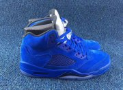 Wholesale Cheap Air Jordan 5 Retro Blue Suede Game Royal/Silver-Black