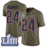Wholesale Cheap Nike Patriots #24 Stephon Gilmore Olive Super Bowl LIII Bound Youth Stitched NFL Limited 2017 Salute to Service Jersey
