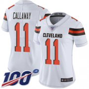 Wholesale Cheap Nike Browns #11 Antonio Callaway White Women's Stitched NFL 100th Season Vapor Limited Jersey