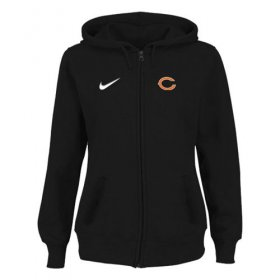 Wholesale Cheap Women\'s Chicago Bears Stadium Rally Full Zip Hoodie Black