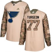 Wholesale Cheap Adidas Blues #77 Pierre Turgeon Camo Authentic 2017 Veterans Day Stitched NHL Jersey