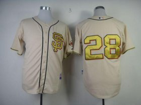 Wholesale Cheap Giants #28 Buster Posey Cream Gold No. Stitched MLB Jersey