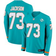 Wholesale Cheap Nike Dolphins #73 Austin Jackson Aqua Green Team Color Men's Stitched NFL Limited Therma Long Sleeve Jersey