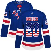 Wholesale Cheap Adidas Rangers #20 Chris Kreider Royal Blue Home Authentic USA Flag Women's Stitched NHL Jersey