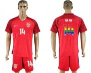 Wholesale Cheap USA #14 Ream Red Rainbow Soccer Country Jersey