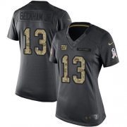 Wholesale Cheap Nike Giants #13 Odell Beckham Jr Black Women's Stitched NFL Limited 2016 Salute to Service Jersey