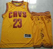 Wholesale Cheap Cleveland Cavaliers #23 LeBron James Yellow Revolution 30 Swingman Jersey Short Suits