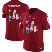 Wholesale Cheap Washington State Cougars 14 Jack Thompson Red Fashion College Football Jersey