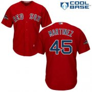 Wholesale Cheap Red Sox #45 Pedro Martinez Red New Cool Base 2018 World Series Stitched MLB Jersey