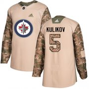 Wholesale Cheap Adidas Jets #5 Dmitry Kulikov Camo Authentic 2017 Veterans Day Stitched NHL Jersey