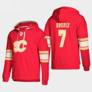 Wholesale Cheap Calgary Flames #7 TJ Brodie Red adidas Lace-Up Pullover Hoodie