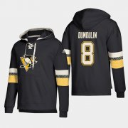 Wholesale Cheap Pittsburgh Penguins #8 Brian Dumoulin Black adidas Lace-Up Pullover Hoodie