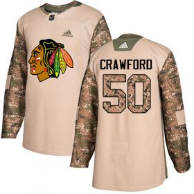 Wholesale Cheap Adidas Blackhawks #50 Corey Crawford Camo Authentic 2017 Veterans Day Stitched Youth NHL Jersey