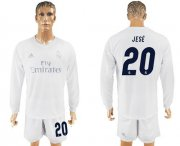 Wholesale Cheap Real Madrid #20 Jese Marine Environmental Protection Home Long Sleeves Soccer Club Jersey