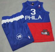 Wholesale Cheap Philadelphia 76ers #3 Allen Iverson Blue With Red NBA Jerseys Shorts Suits