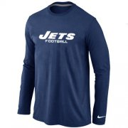 Wholesale Cheap Nike New York Jets Authentic Font Long Sleeve T-Shirt Dark Blue
