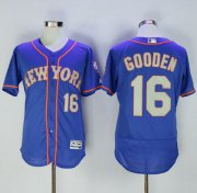 Wholesale Cheap Mets #16 Dwight Gooden Blue(Grey NO.) Flexbase Authentic Collection Stitched MLB Jersey