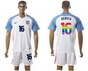 Wholesale Cheap USA #16 Acosta White Rainbow Soccer Country Jersey