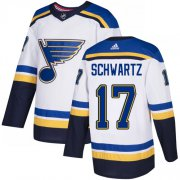 Wholesale Cheap Adidas Blues #17 Jaden Schwartz White Road Authentic Stitched Youth NHL Jersey
