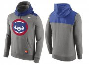 Wholesale Cheap Men's Chicago Cubs Nike Gray Cooperstown Collection Hybrid Pullover Hoodie_1