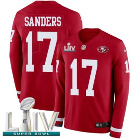 Wholesale Cheap Nike 49ers #17 Emmanuel Sanders Red Super Bowl LIV 2020 Team Color Men\'s Stitched NFL Limited Therma Long Sleeve Jersey