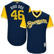 "Wholesale Cheap Brewers #46 Corey Knebel Navy ""Bird Dog"" Players Weekend Authentic Stitched MLB Jersey"
