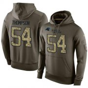 Wholesale Cheap NFL Men's Nike Carolina Panthers #54 Shaq Thompson Stitched Green Olive Salute To Service KO Performance Hoodie