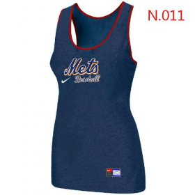 Wholesale Cheap Women\'s Nike New York Mets Tri-Blend Racerback Stretch Tank Top Blue