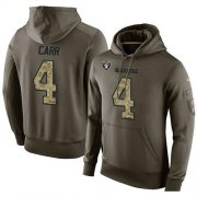 Wholesale Cheap NFL Men's Nike Oakland Raiders #4 Derek Carr Stitched Green Olive Salute To Service KO Performance Hoodie