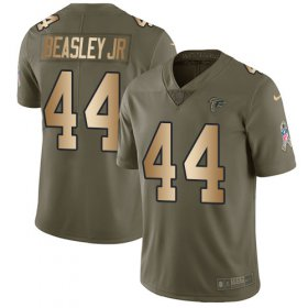 Wholesale Cheap Nike Falcons #44 Vic Beasley Jr Olive/Gold Youth Stitched NFL Limited 2017 Salute to Service Jersey