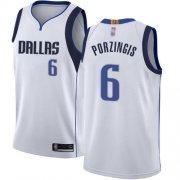 Wholesale Cheap Mavericks #6 Kristaps Porzingis White Basketball Swingman Association Edition Jersey