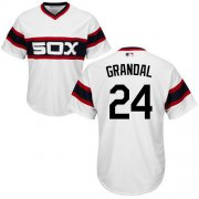 Wholesale Cheap White Sox #24 Yasmani Grandal White New Cool Base Alternate Home Stitched Youth MLB Jersey