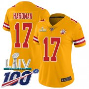 Wholesale Cheap Nike Chiefs #17 Mecole Hardman Gold Super Bowl LIV 2020 Women's Stitched NFL Limited Inverted Legend 100th Season Jersey