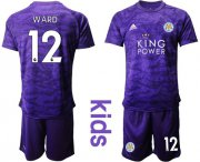 Wholesale Cheap Leicester City #12 Ward Purple Goalkeeper Kid Soccer Club Jersey