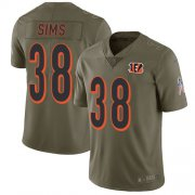 Wholesale Cheap Nike Bengals #38 LeShaun Sims Olive Youth Stitched NFL Limited 2017 Salute To Service Jersey
