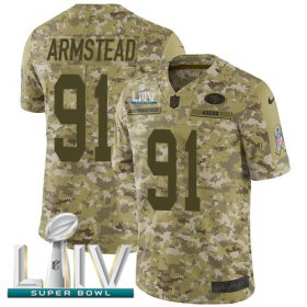 Wholesale Cheap Nike 49ers #91 Arik Armstead Camo Super Bowl LIV 2020 Men\'s Stitched NFL Limited 2018 Salute To Service Jersey