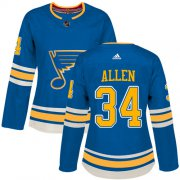 Wholesale Cheap Adidas Blues #34 Jake Allen Blue Alternate Authentic Women's Stitched NHL Jersey