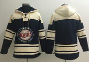 Wholesale Cheap Twins Blank Navy Blue Sawyer Hooded Sweatshirt MLB Hoodie