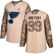 Wholesale Cheap Adidas Blues #99 Wayne Gretzky Camo Authentic 2017 Veterans Day Stitched NHL Jersey